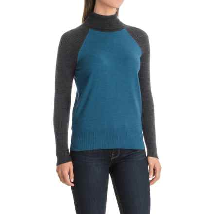 Nomadic Traders Jumpers Color-Block Turtleneck Sweater (For Women) in Lake - Closeouts