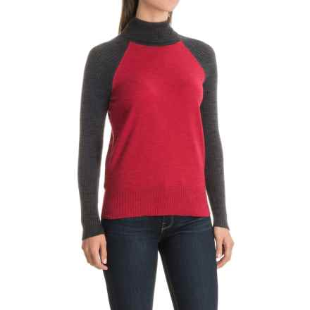 Nomadic Traders Jumpers Color-Block Turtleneck Sweater (For Women) in Pimento - Closeouts
