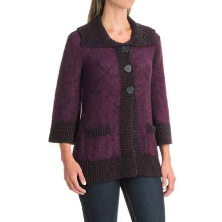 Nomadic Traders Knitty Gritty Weekend Sweater - 3/4 Sleeve (For Women) in Plum - Closeouts