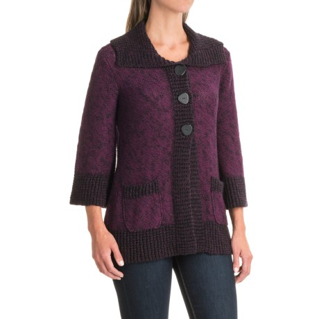 Nomadic Traders Knitty Gritty Weekend Sweater - 3/4 Sleeve (For Women) in Plum