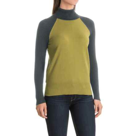 Nomadic Traders Maple & Birch Color-Block Turtleneck Sweater (For Women) in Citron/Dark Gray - Closeouts