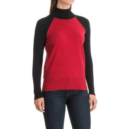 Nomadic Traders Maple & Birch Color-Block Turtleneck Sweater (For Women) in Crimson/Black - Closeouts