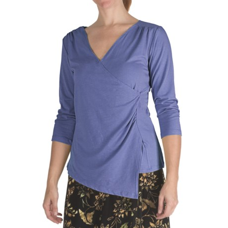 Nomadic Traders Marrakesh Knit Suri Shirt - Stretch Jersey, V-Neck, 3/4 Sleeve (For Women) in Tile Blue