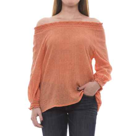 Nomadic Traders NTCO Dobby Peasant Top - Long Sleeve (For Women) in Aprioct - Closeouts