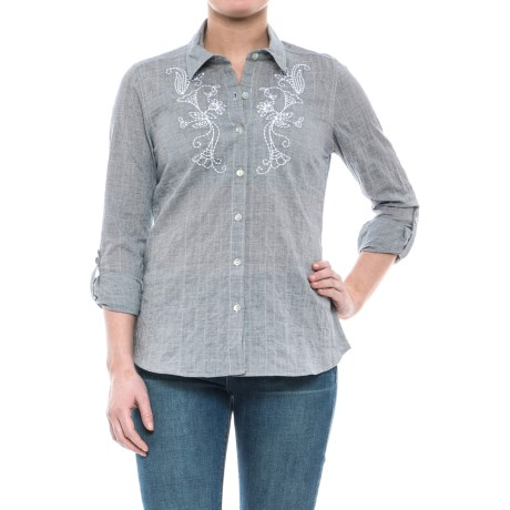 Nomadic Traders NTCO Santiago Crinkle Cotton Shirt - Long Sleeve (For Women) in Silver/White