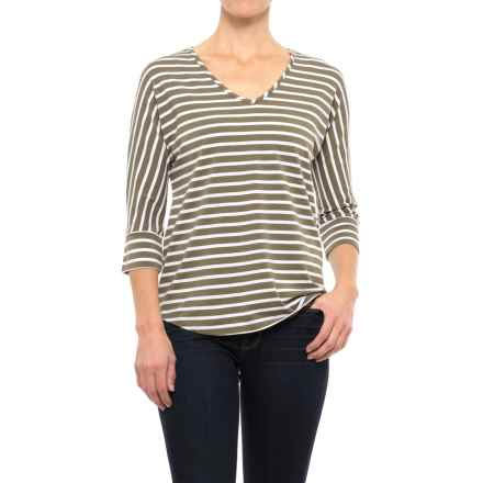 Nomadic Traders Olivia Stripe Shirt - Cotton-Modal, 3/4 Sleeve (For Women) in Olive - Closeouts