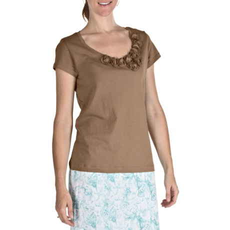 Nomadic Traders Pima Cotton Rosetta T-Shirt - Short Sleeve (For Women) in Latte