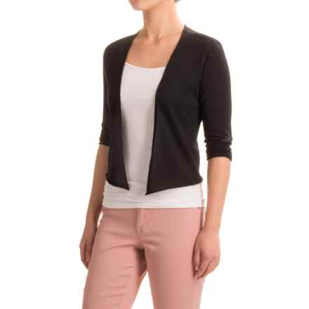 Nomadic Traders Portofino Cropped Cardigan Sweater - 3/4 Sleeve (For Women) in Black - Closeouts