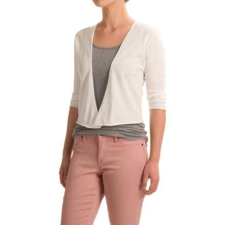 Nomadic Traders Portofino Cropped Cardigan Sweater - 3/4 Sleeve (For Women) in White - Closeouts