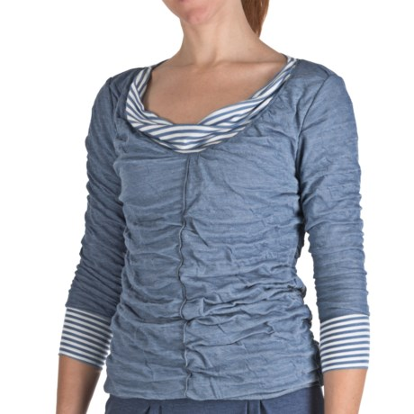 Nomadic Traders Pucker Knit Boulevard Shirt - 3/4 Sleeve (For Women) in Latte