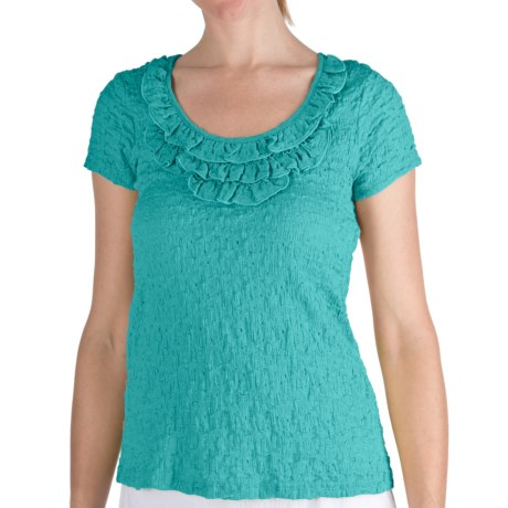 Nomadic Traders Puckered Frilly Neck Shirt - Short Sleeve (For Women) in Caribbean