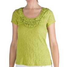 Nomadic Traders Puckered Frilly Neck Shirt - Short Sleeve (For Women) in Citron - Closeouts