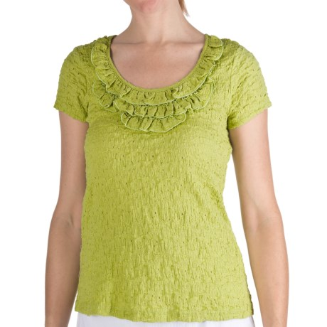 Nomadic Traders Puckered Frilly Neck Shirt - Short Sleeve (For Women) in Citron