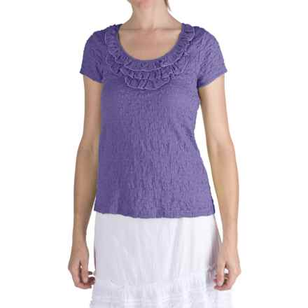 Nomadic Traders Puckered Frilly Neck Shirt - Short Sleeve (For Women) in Wisteria - Closeouts
