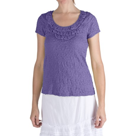 Nomadic Traders Puckered Frilly Neck Shirt - Short Sleeve (For Women) in Wisteria