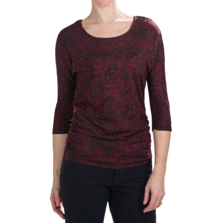 Nomadic Traders Route 66 Ruched Shirt - Stretch Jersey, 3/4 Dolman Sleeve (For Women) in Bordeaux Tempo