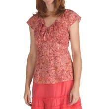 Nomadic Traders Ruffled Chiffon Shirt - Short Sleeve (For Women) in Coral Reef Batik - Closeouts