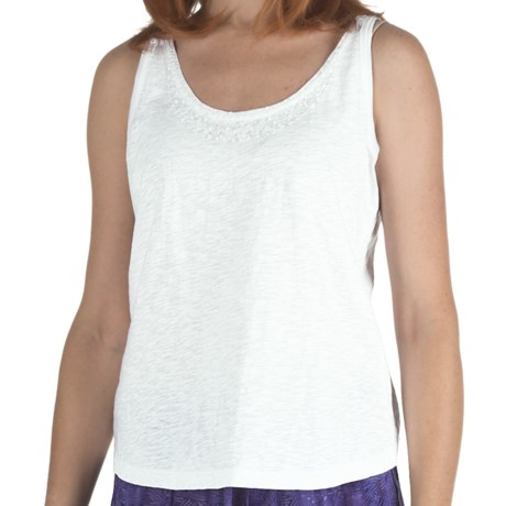 Nomadic Traders Sequin Tank Top - Cotton, Scoop Neck (For Women) in White