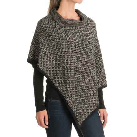Nomadic Traders Shades of Fall Asymmetric Wrap Poncho (For Women) in Pebble - Closeouts