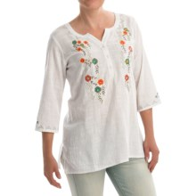 Nomadic Traders Signature Whites Fiora Tunic Shirt - 3/4 Sleeve (For Women) in White - Closeouts