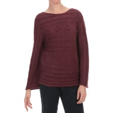 Nomadic Traders St. Germain Cable Bistro Sweater - 3/4 Sleeve (For Women) in Bordeaux - Closeouts