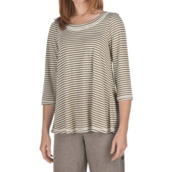 Nomadic Traders Stripe Hannah Shirt - Cotton-Modal, 3/4 Sleeve (For Women) in Latte