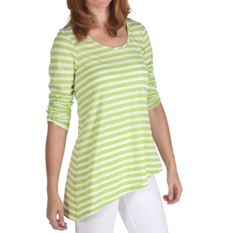 Nomadic Traders Stripe Tunic Shirt - Long Sleeve (For Women) in Pistachio