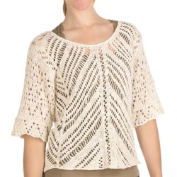 Nomadic Traders Textured Breezy Sweater - 3/4 Sleeve (For Women) in Natural
