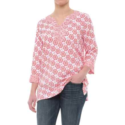 Nomadic Traders Tori Tunic Shirt - 3/4 Sleeve (For Women) in Tomato Medallion - Closeouts