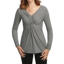 Nomadic Traders Transition Knotted Tunic Shirt - Jersey Knit Micromodal®, Long Sleeve (For Women) in Charcoal Stripe - Closeouts