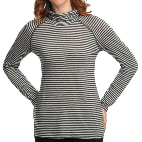 Nomadic Traders Transition Turtleneck - Jersey Knit, Long Raglan Sleeve (For Women) in Charcoal Stripe