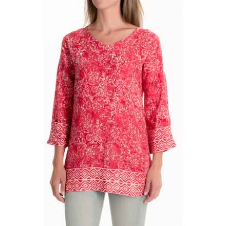 Nomadic Traders Wanderlust Border Tunic Shirt - 3/4 Sleeve (For Women) in Coral - Closeouts