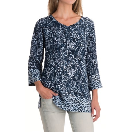 Nomadic Traders Wanderlust Border Tunic Shirt - 3/4 Sleeve (For Women)