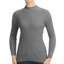 Nomadic Traders WIDE RIB POORBOY COTTON BLEND TURTLENECK (For Women) in Platinum - Closeouts