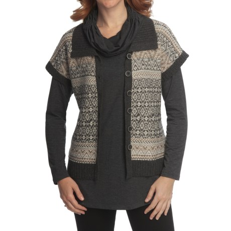 Nomadic Traders Winter Solstice Long Vest (For Women) in Charcoal