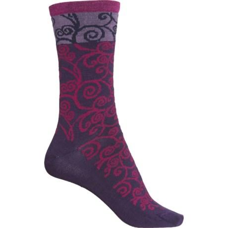 Non-Cushion Essential Heraldic Swirl Socks - Merino Wool, Crew (For Women) - CONCORDE (M/L ) -  Sockwell