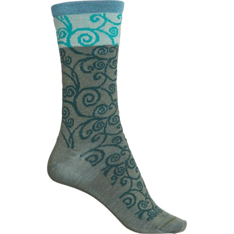 Non-Cushion Essential Heraldic Swirl Socks - Merino Wool, Crew (For Women) - EUCALYPTUS (S/M ) -  Sockwell