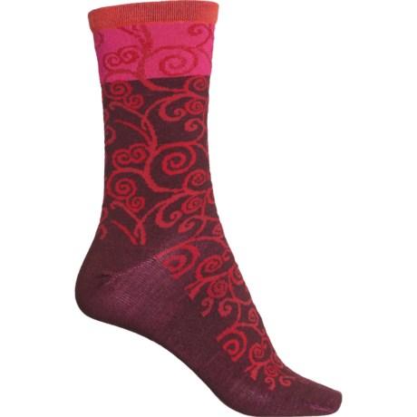 Non-Cushion Essential Heraldic Swirl Socks - Merino Wool, Crew (For Women) - PORT (M/L ) -  Sockwell