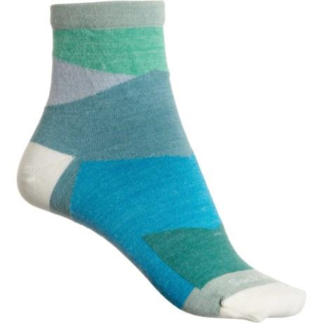 Non-Cushion Essential Jazz Socks - Merino Wool, Quarter Crew (For Women) - CELADON (M/L ) -  Sockwell