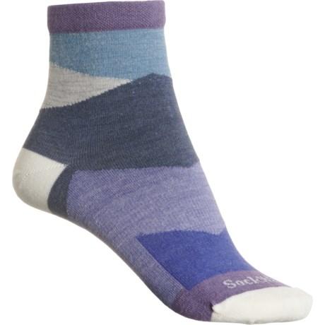 Non-Cushion Essential Jazz Socks - Merino Wool, Quarter Crew (For Women) - PLUM (S/M ) -  Sockwell