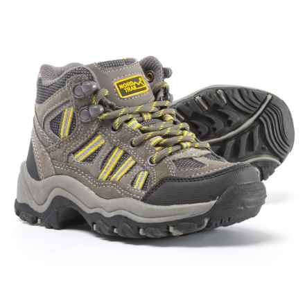Nord Trail Mt. Hunter High Hiking Boots - Suede (For Boys) in Charcoal/Yellow - Closeouts