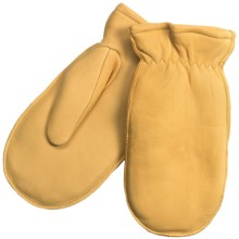 North American Trading Deerskin Chopper Mittens - Finger Slots (For Men) in Tan - Closeouts