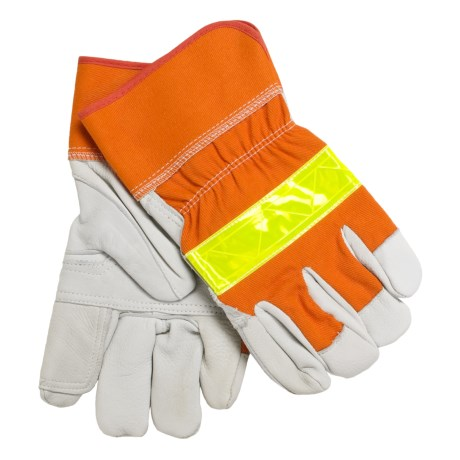 North American Trading Deerskin Gloves with Reflective Strip (For Men and Women) in Blaze Orange