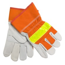 North American Trading Deerskin Gloves with Reflective Strip - Insulated (For Men and Women) in Blaze Orange - Closeouts