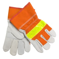 North American Trading Deerskin Gloves with Reflective Strip - Insulated (For Men and Women) in Blaze Orange