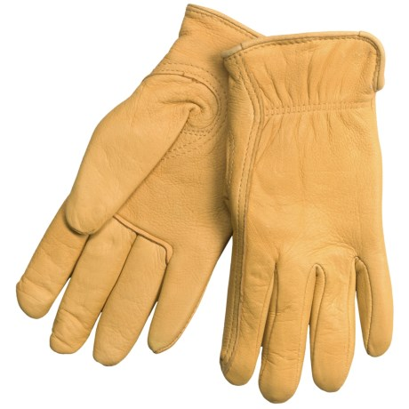 North American Trading Full-Grain Deerskin Gloves - Insulated (For Women) in Tan