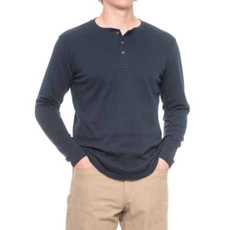 North Canyon Traders Solid Henley Shirt - Long Sleeve (For Men) in Navy