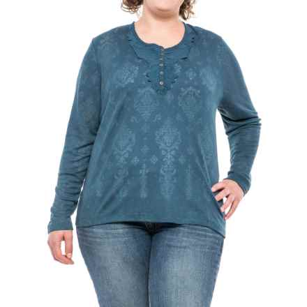 North River Burnout Waffle-Knit Henley Shirt - Long Sleeve (For Plus Size Women) in Fiord - Closeouts
