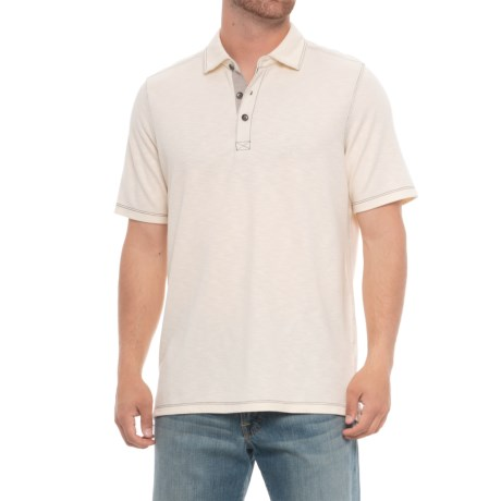 North River Cotton-Modal Polo Shirt - Short Sleeve (For Men) in Beige