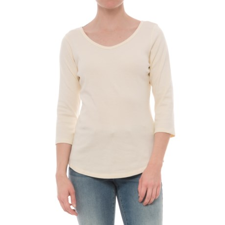 North River Cotton-Spandex Shirt - V-Neck, 3/4 Sleeve (For Women) in Ivory